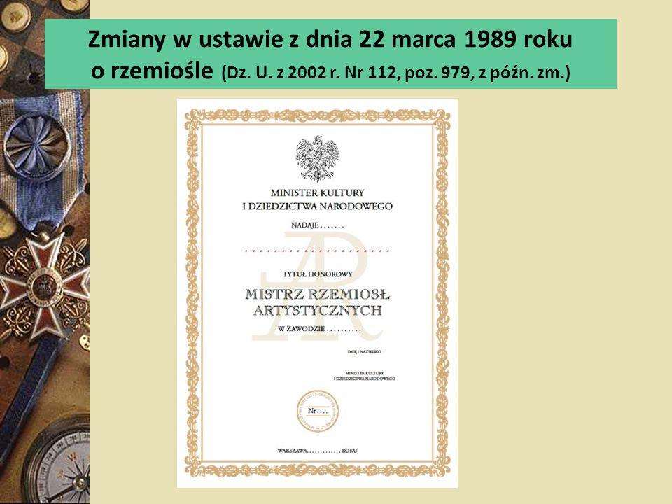 Zmiany w ustawie z dnia 22 marca 1989 roku
