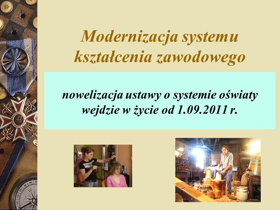 Modernizacja systemu kształcenia zawodowego nowelizacja ustawy o systemie oświaty wejdzie w życie od 1.09.2011 r.
