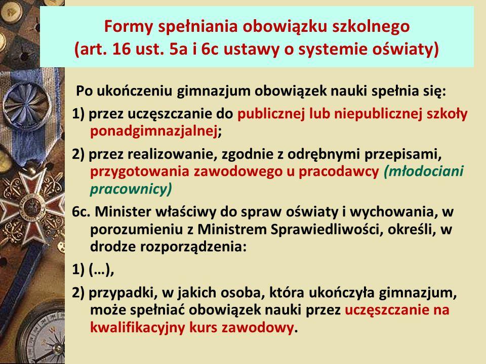 Formy spełniania obowiązku szkolnego (art. 16 ust