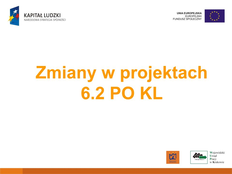 Zmiany w projektach 6.2 PO KL