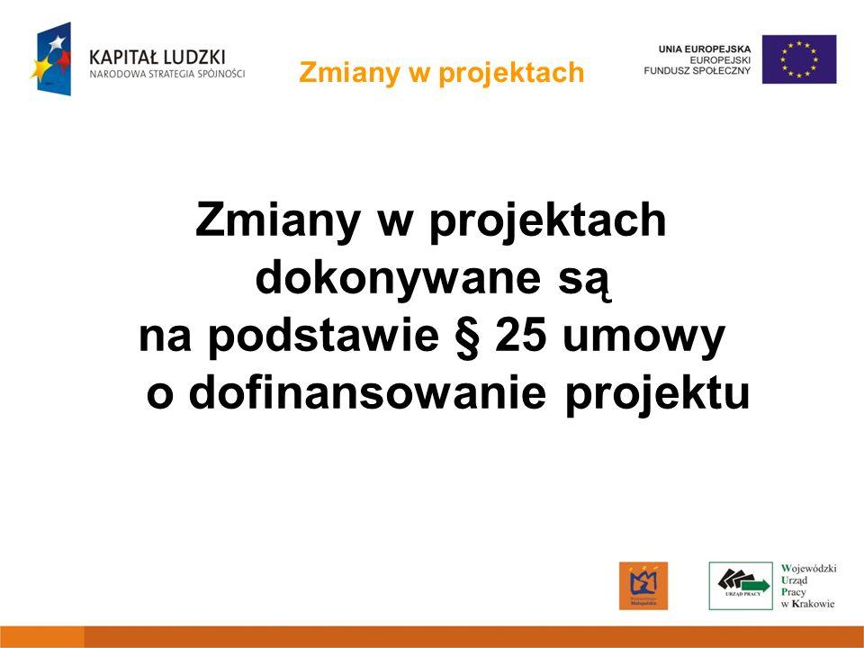 na podstawie § 25 umowy o dofinansowanie projektu