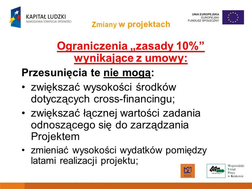 """Ograniczenia """"zasady 10% wynikające z umowy:"""