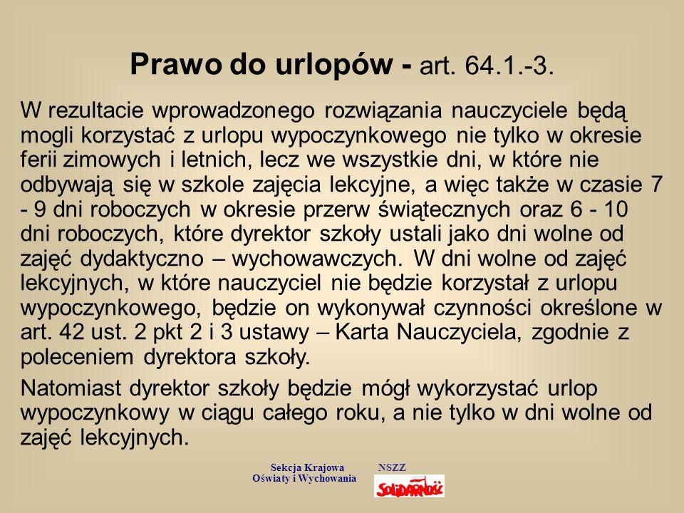 Prawo do urlopów - art. 64.1.-3.