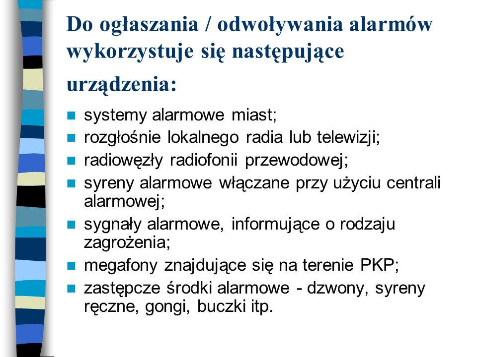 Do ogłaszania / odwoływania alarmów wykorzystuje się następujące urządzenia: