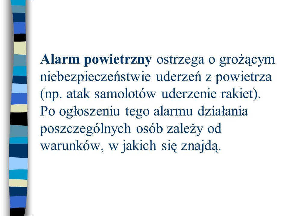 Alarm powietrzny ostrzega o grożącym niebezpieczeństwie uderzeń z powietrza (np.