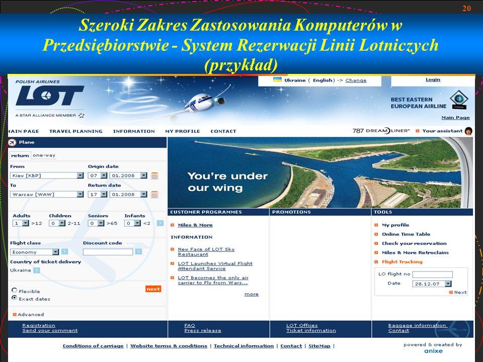Szeroki Zakres Zastosowania Komputerów w Przedsiębiorstwie - System Rezerwacji Linii Lotniczych (przykład)