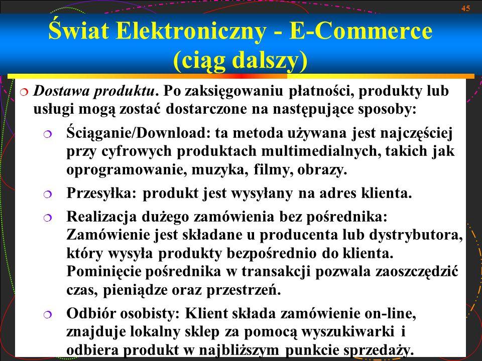 Świat Elektroniczny - E-Commerce (ciąg dalszy)