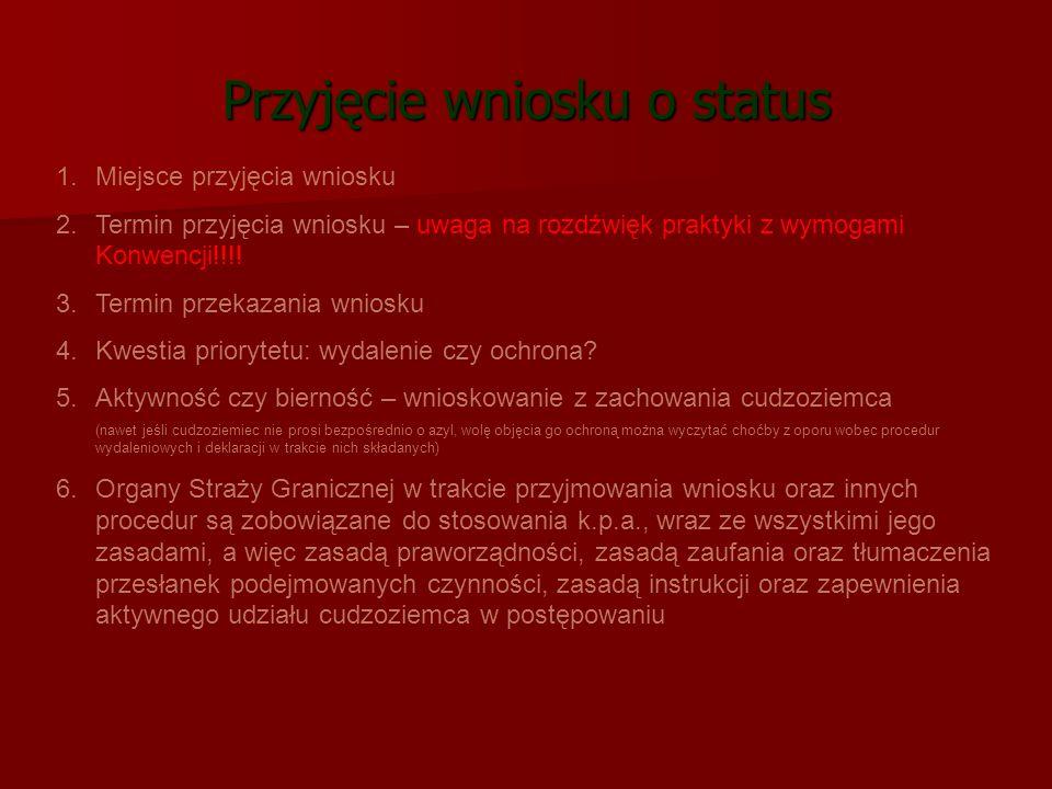 Przyjęcie wniosku o status