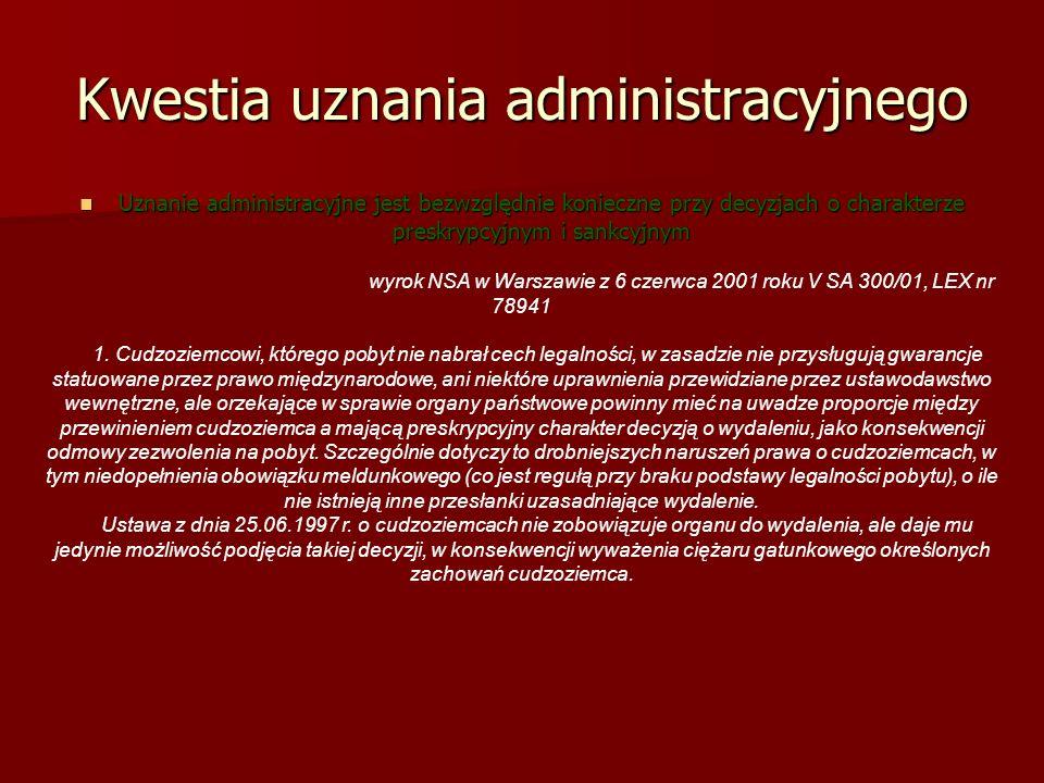 Kwestia uznania administracyjnego