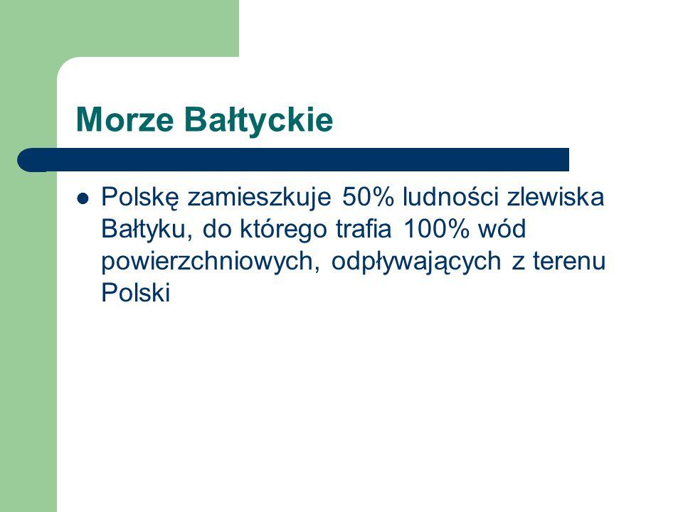 Morze Bałtyckie Polskę zamieszkuje 50% ludności zlewiska Bałtyku, do którego trafia 100% wód powierzchniowych, odpływających z terenu Polski.