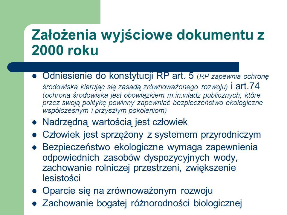 Założenia wyjściowe dokumentu z 2000 roku