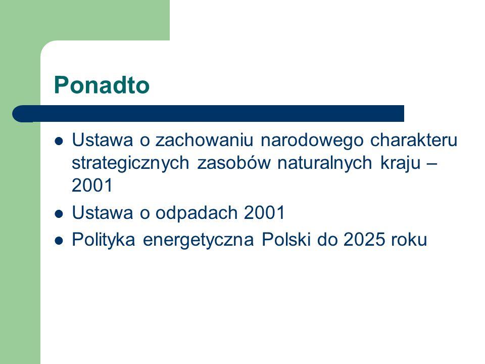 Ponadto Ustawa o zachowaniu narodowego charakteru strategicznych zasobów naturalnych kraju – 2001. Ustawa o odpadach 2001.