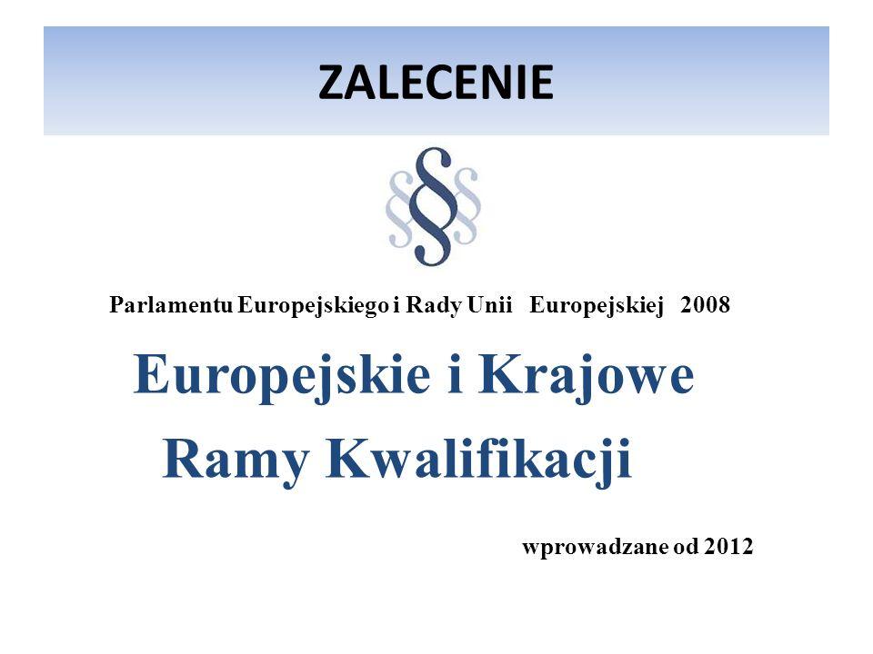 Europejskie i Krajowe Ramy Kwalifikacji ZALECENIE