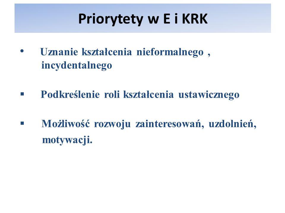 Priorytety w E i KRKUznanie kształcenia nieformalnego , incydentalnego. Podkreślenie roli kształcenia ustawicznego.