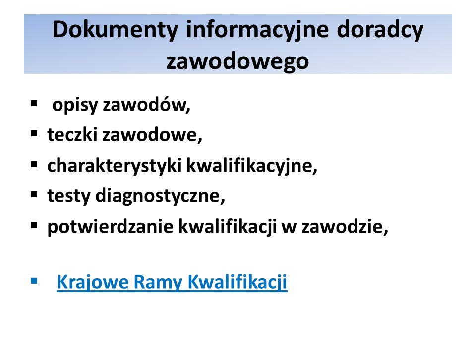 Dokumenty informacyjne doradcy zawodowego