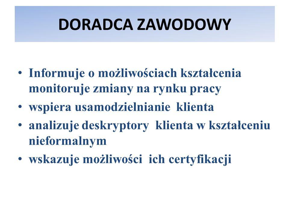DORADCA ZAWODOWYInformuje o możliwościach kształcenia monitoruje zmiany na rynku pracy. wspiera usamodzielnianie klienta.