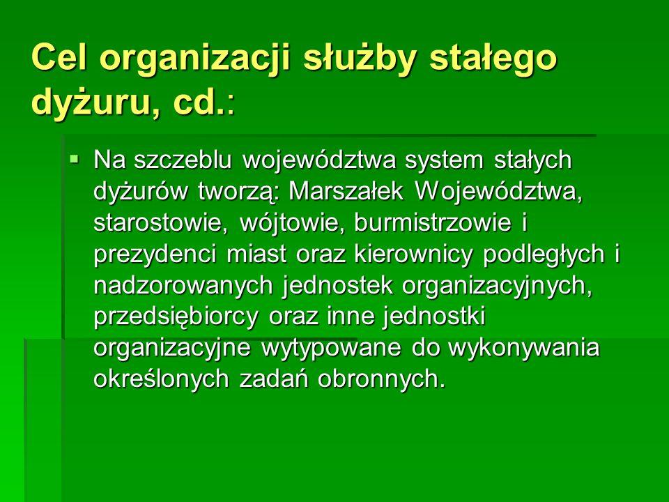 Cel organizacji służby stałego dyżuru, cd.:
