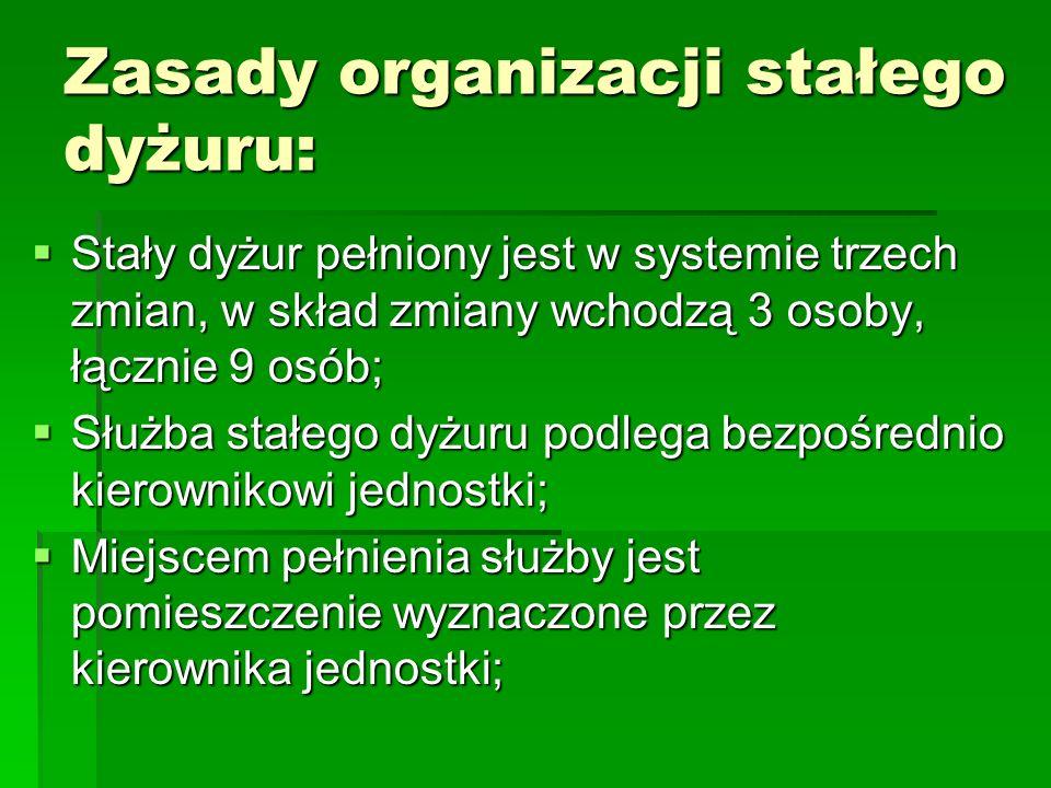 Zasady organizacji stałego dyżuru: