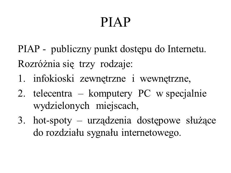 PIAP PIAP - publiczny punkt dostępu do Internetu.