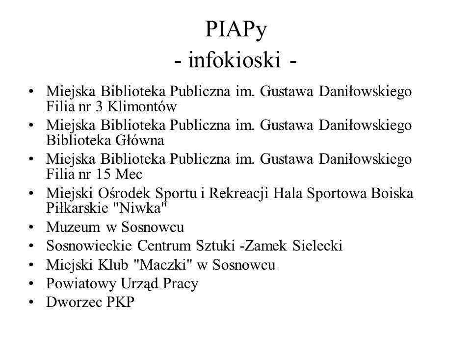 PIAPy - infokioski -Miejska Biblioteka Publiczna im. Gustawa Daniłowskiego Filia nr 3 Klimontów.