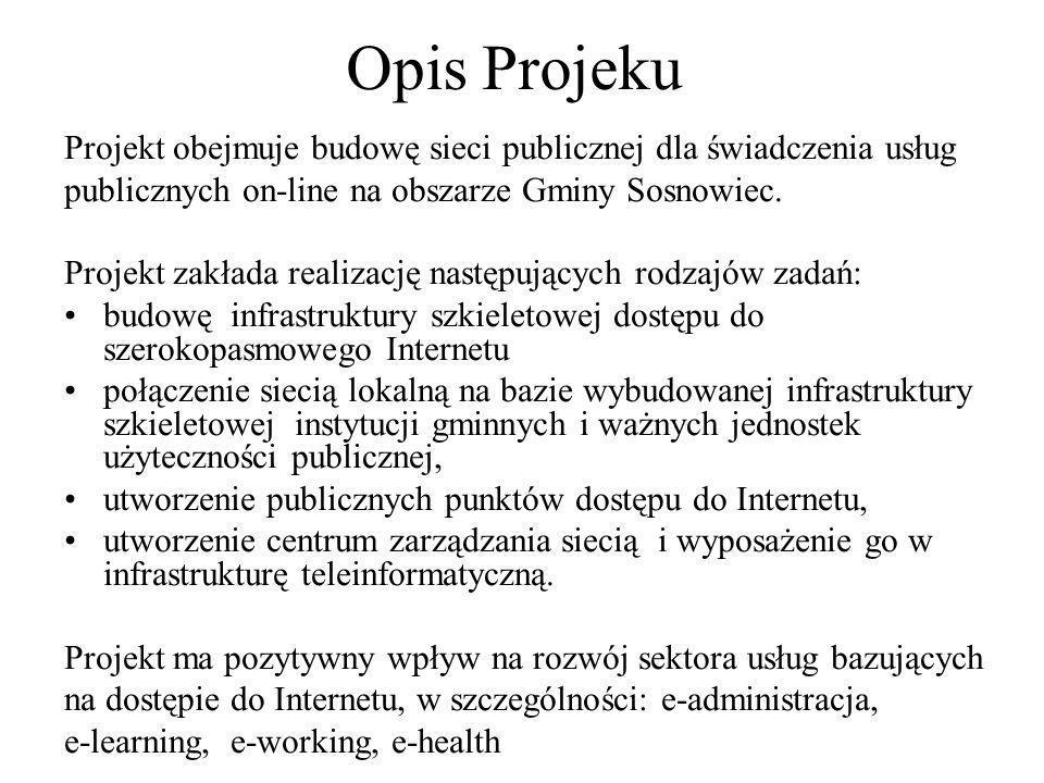 Opis ProjekuProjekt obejmuje budowę sieci publicznej dla świadczenia usług. publicznych on-line na obszarze Gminy Sosnowiec.