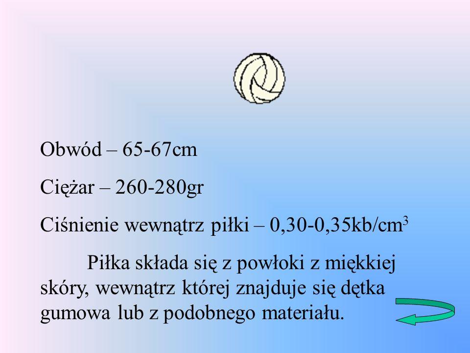 Obwód – 65-67cm Ciężar – 260-280gr. Ciśnienie wewnątrz piłki – 0,30-0,35kb/cm3.