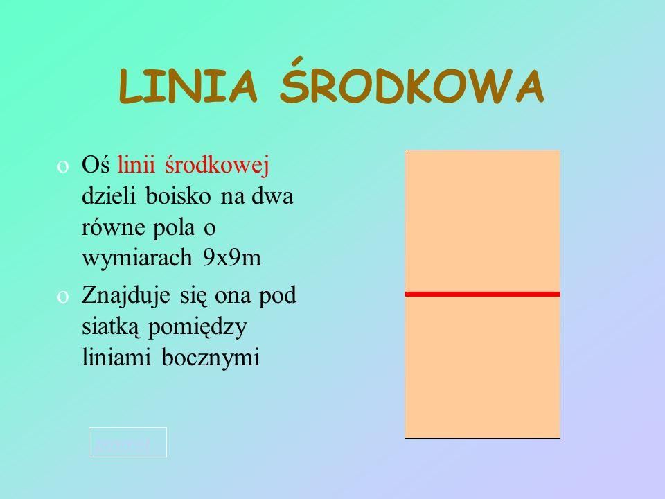 LINIA ŚRODKOWA Oś linii środkowej dzieli boisko na dwa równe pola o wymiarach 9x9m. Znajduje się ona pod siatką pomiędzy liniami bocznymi.