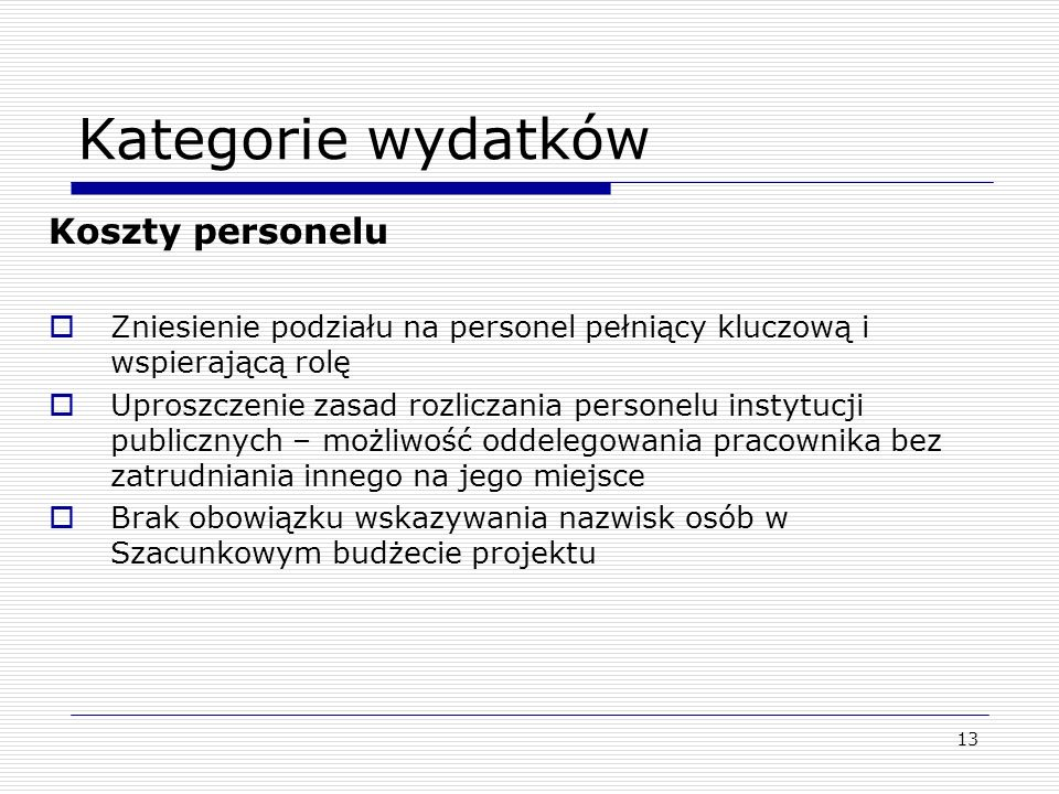 Kategorie wydatków Koszty personelu