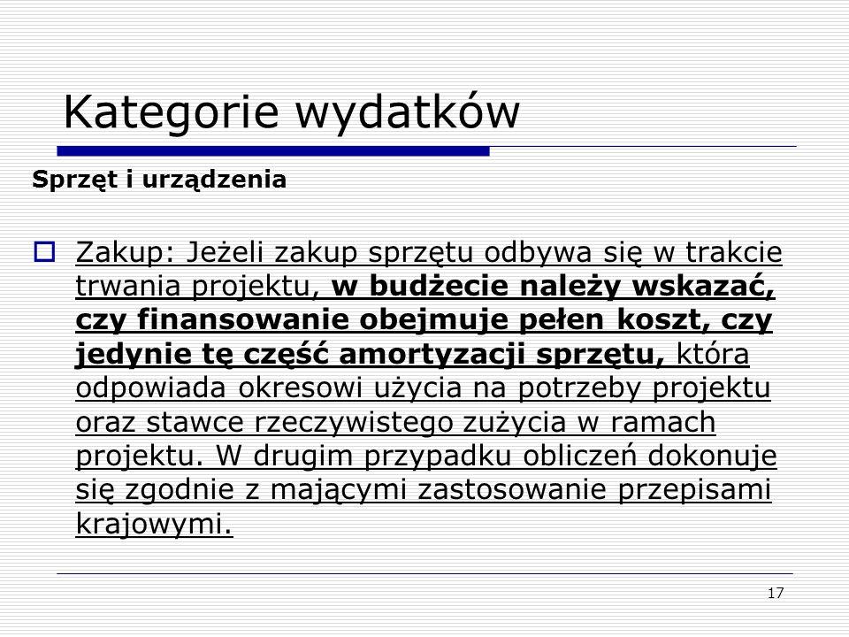 Kategorie wydatkówSprzęt i urządzenia.