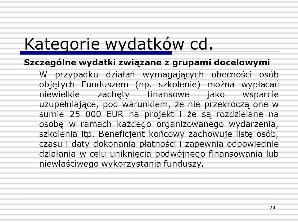 Kategorie wydatków cd. Szczególne wydatki związane z grupami docelowymi.