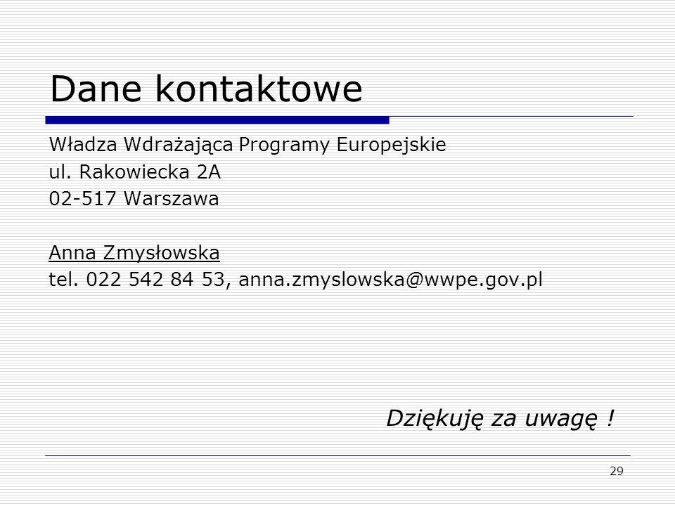 Dane kontaktowe Władza Wdrażająca Programy Europejskie