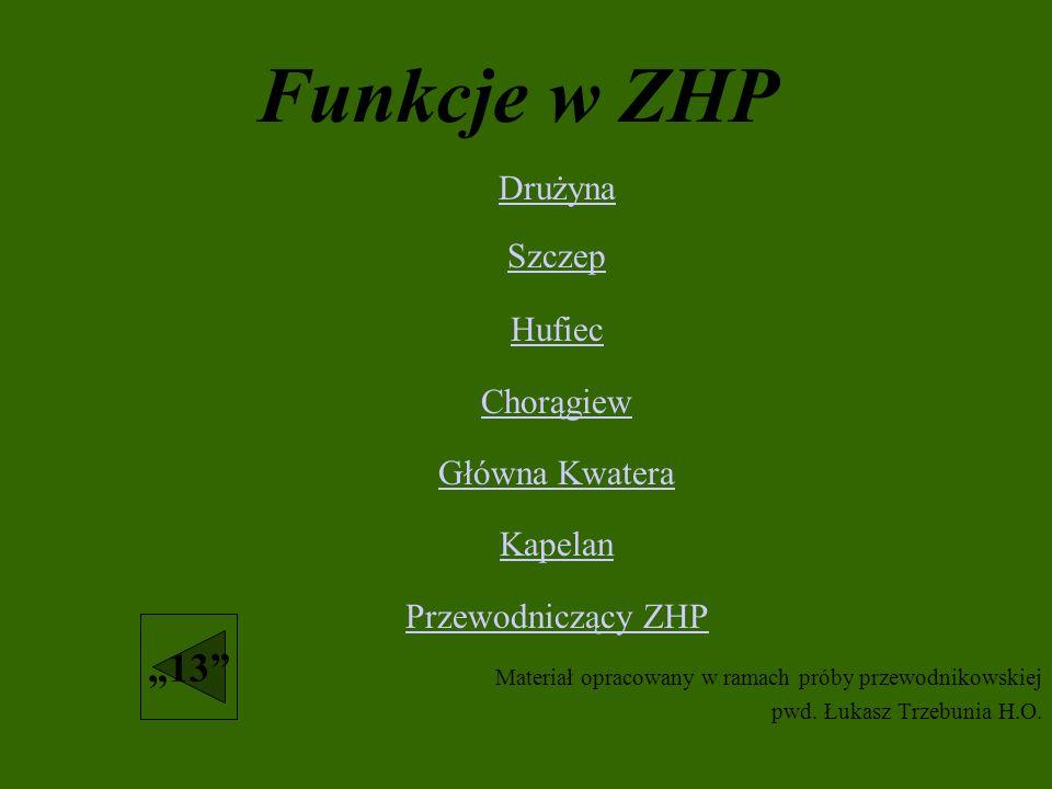 """Funkcje w ZHP """"13 Drużyna Szczep Hufiec Chorągiew Główna Kwatera"""