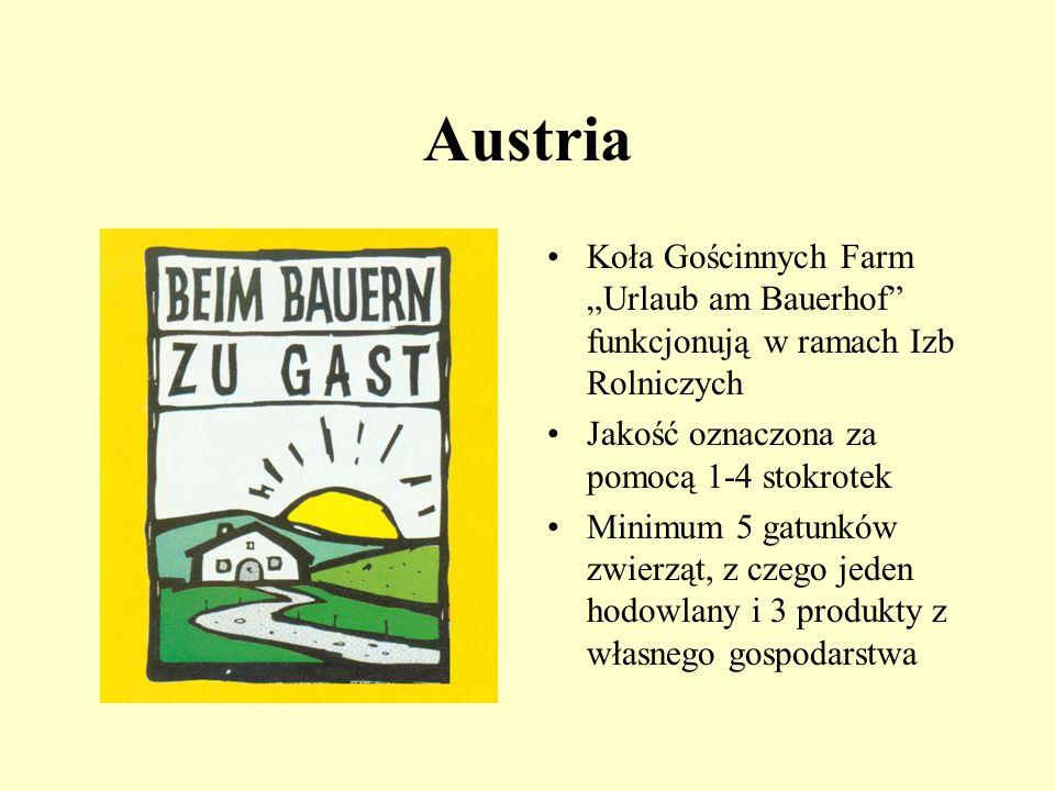"""Austria Koła Gościnnych Farm """"Urlaub am Bauerhof funkcjonują w ramach Izb Rolniczych. Jakość oznaczona za pomocą 1-4 stokrotek."""