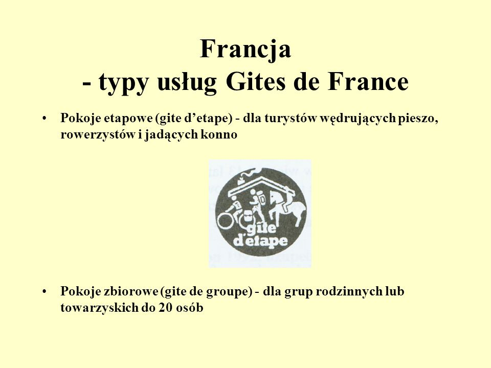 Francja - typy usług Gites de France