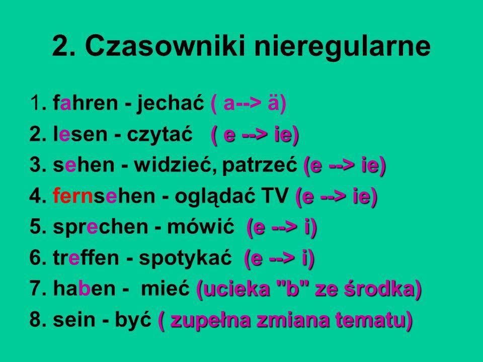 2. Czasowniki nieregularne