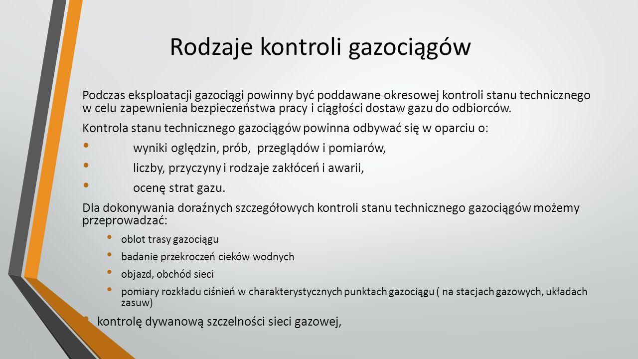 Rodzaje kontroli gazociągów