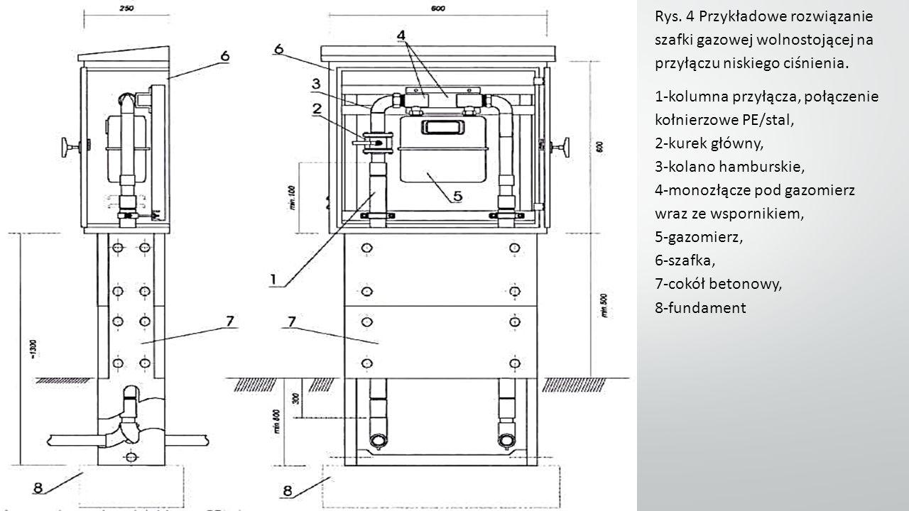 Rys. 4 Przykładowe rozwiązanie szafki gazowej wolnostojącej na przyłączu niskiego ciśnienia.
