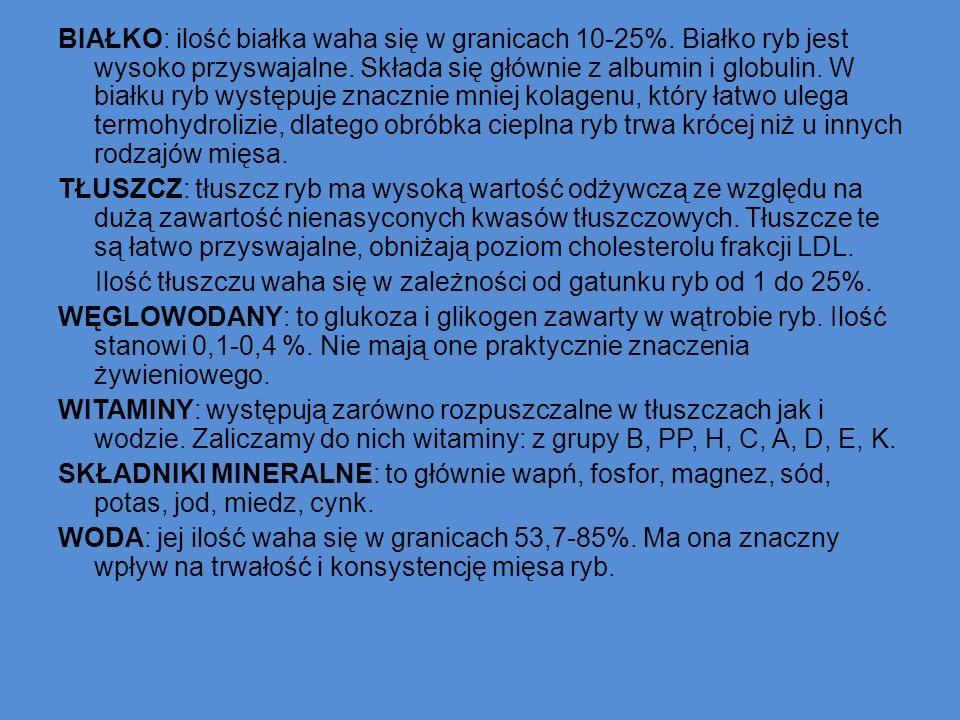 BIAŁKO: ilość białka waha się w granicach 10-25%
