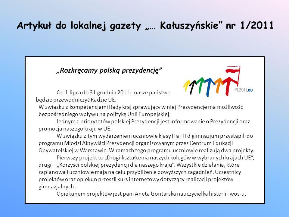 """Artykuł do lokalnej gazety """"… Kałuszyńskie nr 1/2011"""