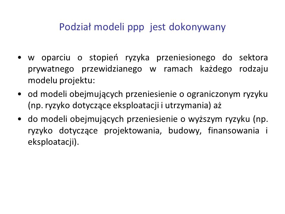 Podział modeli ppp jest dokonywany