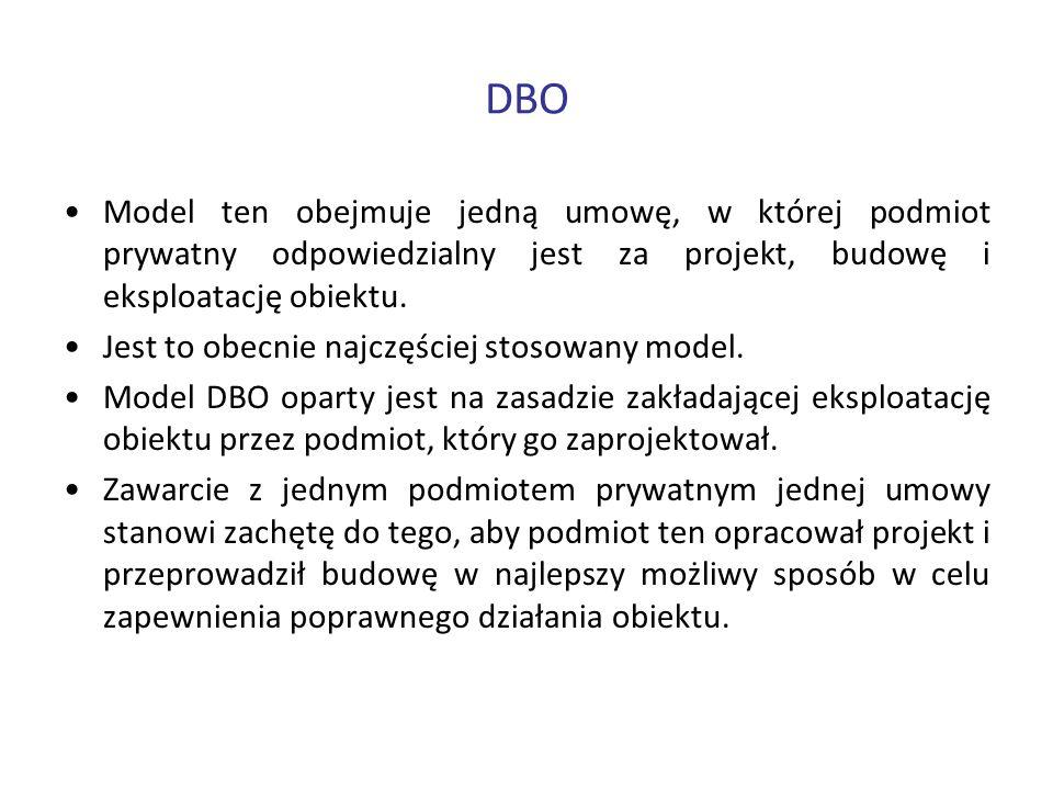 DBO Model ten obejmuje jedną umowę, w której podmiot prywatny odpowiedzialny jest za projekt, budowę i eksploatację obiektu.