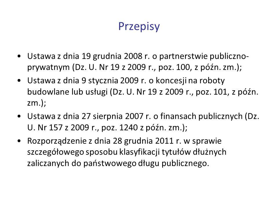 PrzepisyUstawa z dnia 19 grudnia 2008 r. o partnerstwie publiczno-prywatnym (Dz. U. Nr 19 z 2009 r., poz. 100, z późn. zm.);