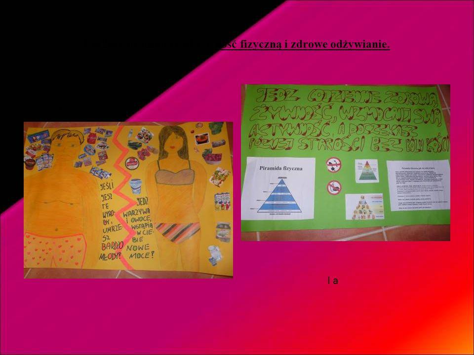 Plakaty promujące aktywność fizyczną i zdrowe odżywianie.