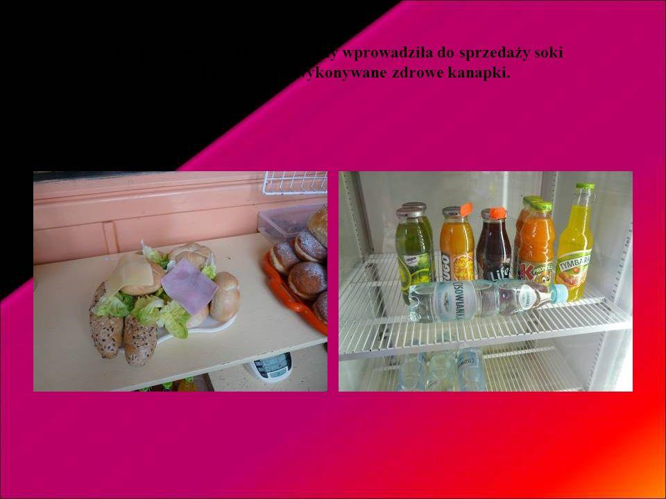 Pani prowadząca sklepik szkolny wprowadziła do sprzedaży soki oraz własnoręcznie wykonywane zdrowe kanapki.
