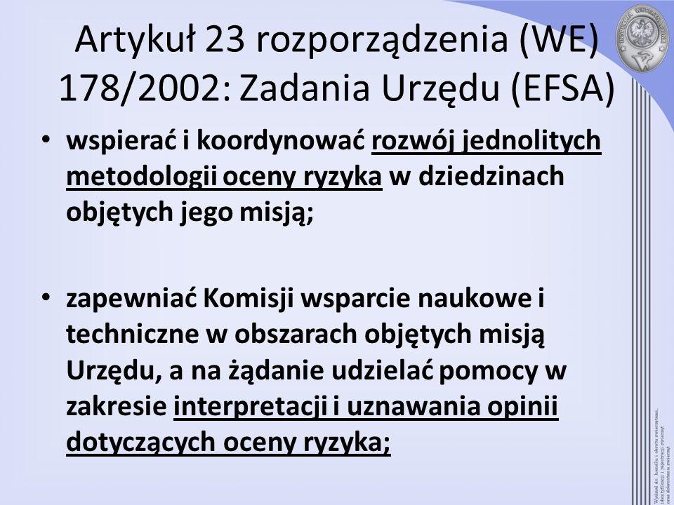 Artykuł 23 rozporządzenia (WE) 178/2002: Zadania Urzędu (EFSA)