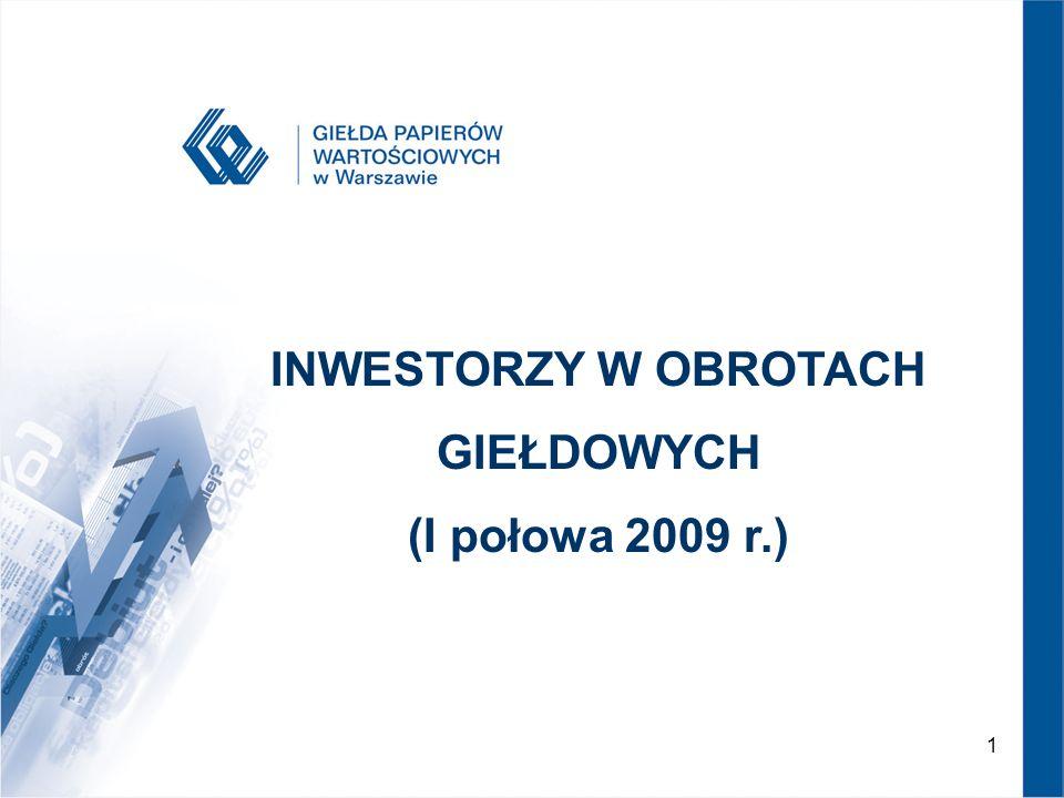 INWESTORZY W OBROTACH GIEŁDOWYCH (I połowa 2009 r.)