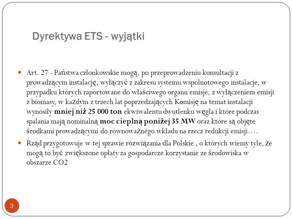Dyrektywa ETS - wyjątki