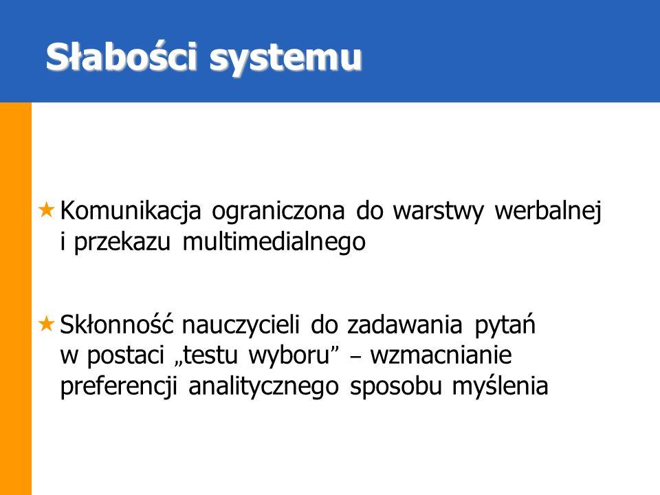 Słabości systemu Komunikacja ograniczona do warstwy werbalnej i przekazu multimedialnego.
