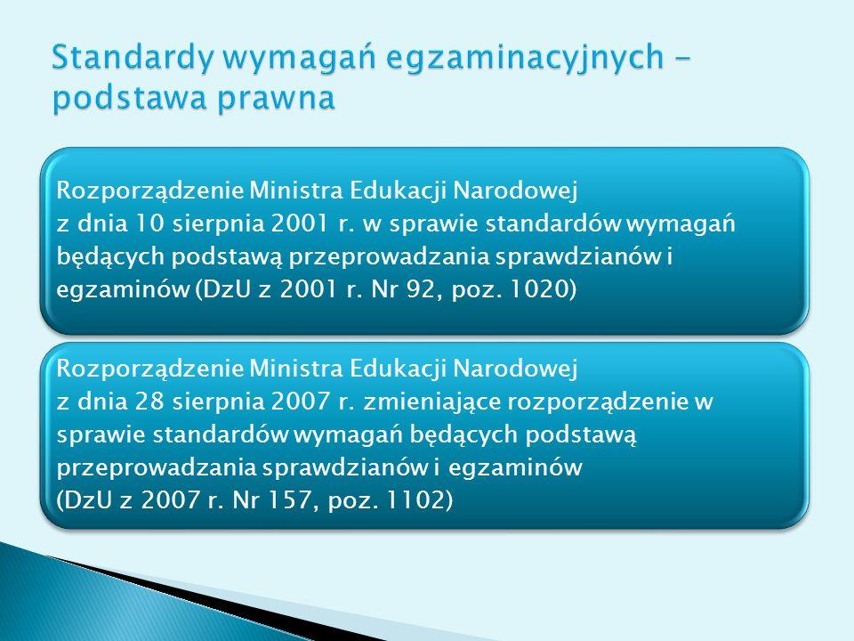 Standardy wymagań egzaminacyjnych - podstawa prawna