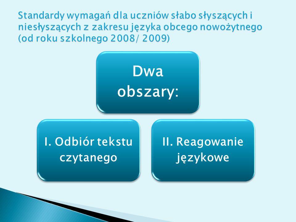 I. Odbiór tekstu czytanego II. Reagowanie językowe